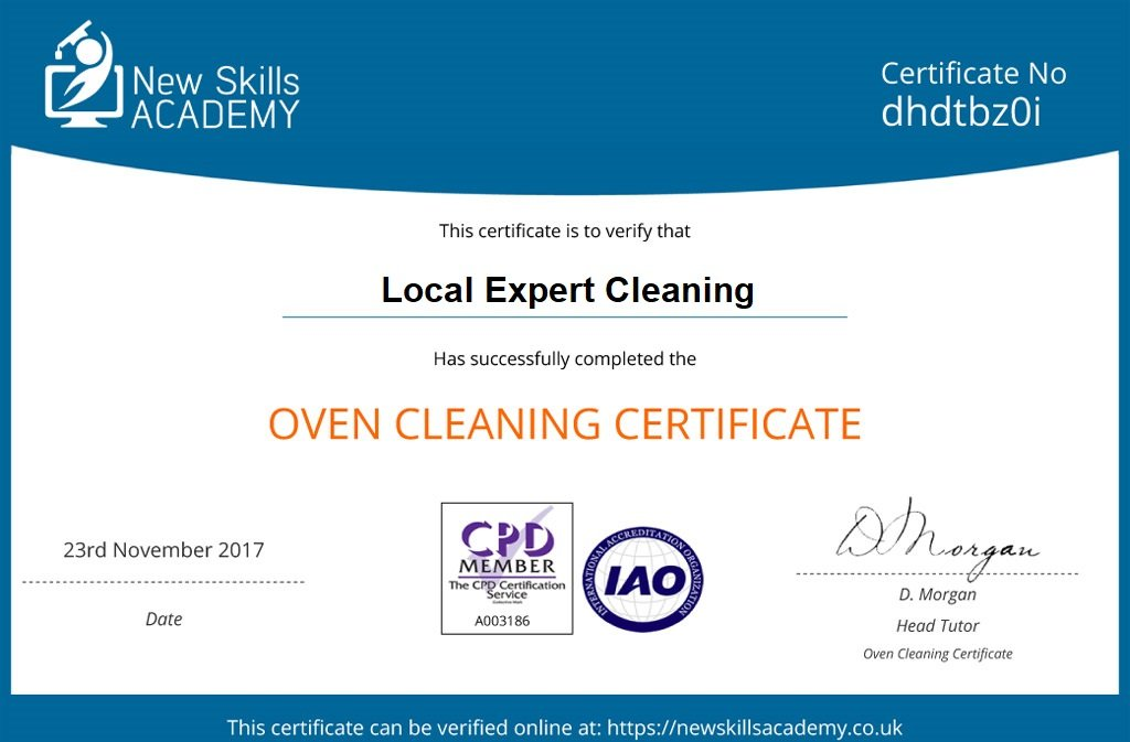oven cleaning certificate-local expert cleaning
