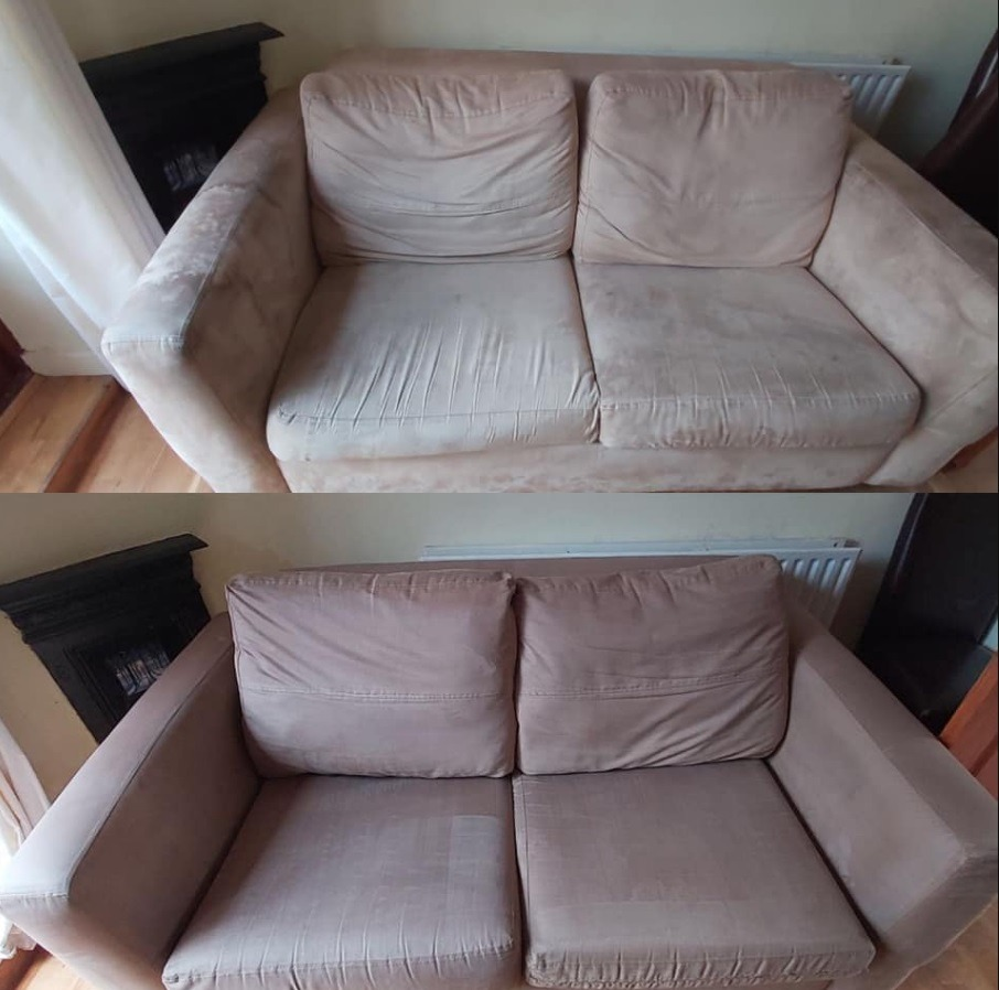 Upholstery cleaning before and after in Redditch