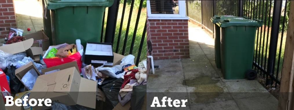 before and after house rubbish removal service in birmingham